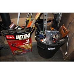 GARBAGE CAN FILLED WITH GARDENING TOOLS + BOX FULL OF TOOLS