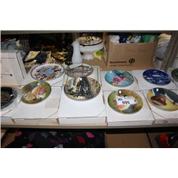 SHELF LOT OF HAND PAINTED PLATES
