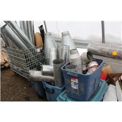 PALLET AND ROLLING BIN OF TIN PIPING