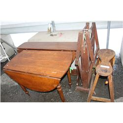 2 DROP LEAF TABLES AND CLOTHES DRYER