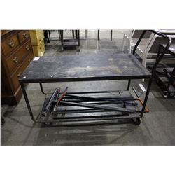 ROLLING METAL SHOP CART AND CONTENTS OF BOTTOM SHELF