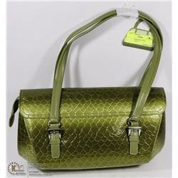 NEW GREEN SNAKESKIN STYLE HANDBAG WITH