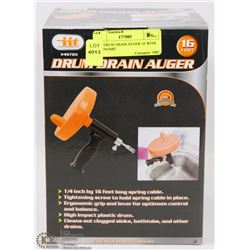 NEW DRUM DRAIN AUGER 16' WITH ERGONOMIC