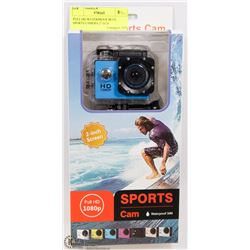 "FULL HD WATERPROOF BLUE SPORTS CAMERA 2"" LCD"