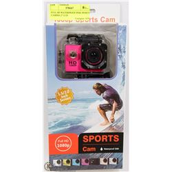 "FULL HD WATERPROOF PINK SPORTS CAMERA 2"" LCD"