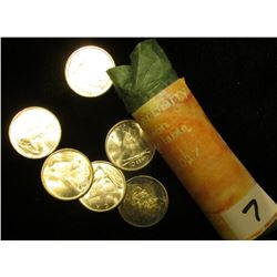 1966 Original Solid Date Brilliant Uncirculated Roll of Canada Silver Dimes. All .800 fine silver. S