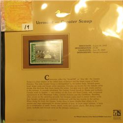 2002 Vermont Waterfowl Stamp $5.00, Mint Condition in plastic sleeve with literature, unsigned. Depi
