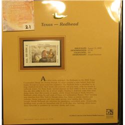 2002 Texas Waterfowl Stamp $3.00, Mint Condition in plastic sleeve with literature, unsigned. Depict