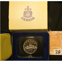 "1972 Canada ""Voyageur"" Prooflike Dollar in original box of issue."
