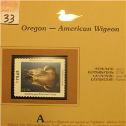 2002 Oregon Waterfowl Stamp $7.50, Mint Condition in plastic sleeve with literature, unsigned. Depic