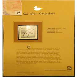 2002 New York Waterfowl Stamp $5.50, Mint Condition in plastic sleeve with literature, unsigned. Dep
