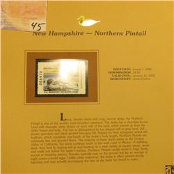 2002 New Hampshire Waterfowl Stamp $4.00, Mint Condition in plastic sleeve with literature, unsigned