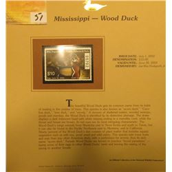 2002 Mississippi Waterfowl Stamp $10.00, Mint Condition in plastic sleeve with literature, unsigned.