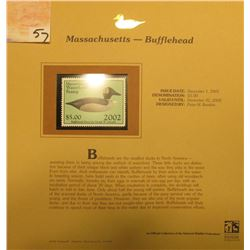2002 Massachusetts Waterfowl Stamp $5.00, Mint Condition in plastic sleeve with literature, unsigned