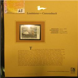2002 Louisiana Waterfowl Stamp $5.50, Mint Condition in plastic sleeve with literature, unsigned. De