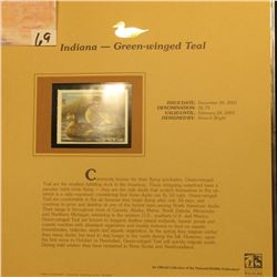 2002  Indiana Waterfowl Stamp $6.75, Mint Condition in plastic sleeve with literature, unsigned. Dep