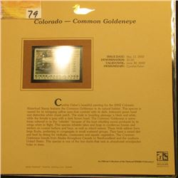 2002  Colorado Waterfowl Stamp $5.00, Mint Condition in plastic sleeve with literature, unsigned. De