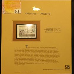 2002  Arkansas Waterfowl Stamp $7.00, Mint Condition in plastic sleeve with literature, unsigned. De