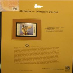 2002  Alabama Waterfowl Stamp $5.00, Mint Condition in plastic sleeve with literature, unsigned. Dep