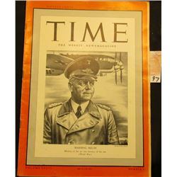"August 26, 1940 ""Time The Weekly Newsmagazine"", cover depicts ""Marshall Milch Mastery of the air was"