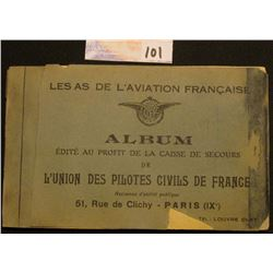 "1930 era Post Card Album with Fighter Pilots depicted with autographs ""Les As De L'Aviation Francais"