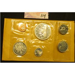 1966 Canada Uncirculated Coin Mint Set in original cellophane and envelope as issued. Includes Cent