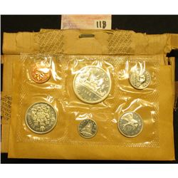 1966 Canada Uncirculated Coin Mint Set in original cellophane, envelope, and shipping box as issued.