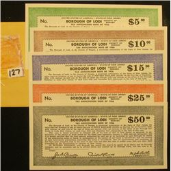 "$5, $10, $15, $25, & $50 ""United States of America - State of New Jersey Borough of Lodi County of B"