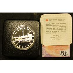 "1834 1984 ""Toronto, Canada 150th Anniversary.500 Fine Silver Cameo Proof Silver Dollar in original b"