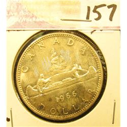 1966 Canada Silver Dollar. Toned Uncirculated. .800 fine Silver.