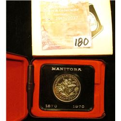 1870-1970 Manitoba, Canada Cased Commemorative Dollar in original holder.