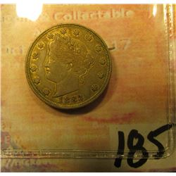 1883 V-Nickel. Gold-plated Rackateer Nickel.