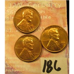 1944 P, D, & S BU Three-piece Set of Lincoln Cents.