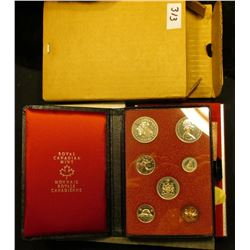 1971 Canada Double Dollar Prooflike Set in black simulated leather holder with red silk lining and o