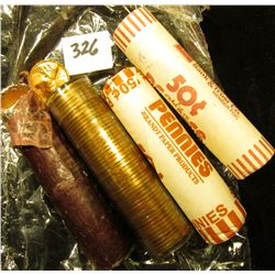 Wax sealed and aluminum wrapped orriginal roll of 1959 P Lincoln Cents (50 pcs.); 1957 P Original BU