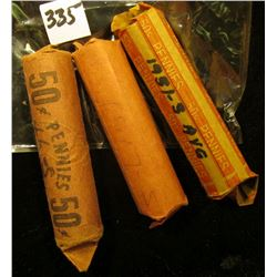 1917 S, 46 S, & 51 S Solid Date Rolls of U.S. Wheat Cents. Circulated.