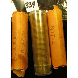 1919 S, 28 D, & 49 S Solid Date Rolls of U.S. Wheat Cents. Circulated.