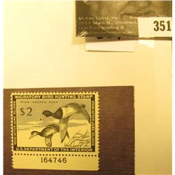 1954 RW21 Federal Migratory Waterfowl $2 Stamp, LH, Unsigned, with pane number.