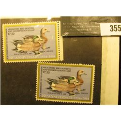 (2) 1984 RW51 Federal Migratory Waterfowl $7.50 Stamp, Unsigned, and unused. DG.