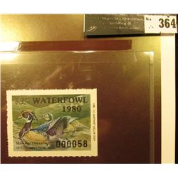 1980 Missouri Migratory Waterfowl Stamp, MO2, unsigned, VF, NH. Wood Ducks.