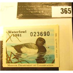 1981 Missouri Migratory Waterfowl Stamp, MO3, unsigned, VF-EF, NH. Lesser Scaup.