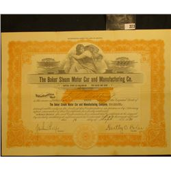 "Sept. 16, 1920 Capital Stock Certificate for 2,000 Shares in ""The Baker Steam Motor Car and Manufact"