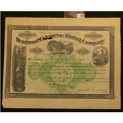 "November 3rd, 1884 1,000 Shares of Capital Stock in ""Deadwood Enterprise Mining Company…Territory of"