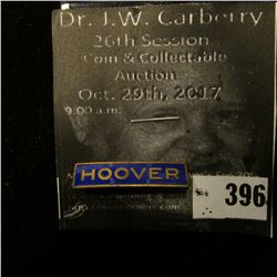"""Hoover"" Pin-back Blue Enamel with gold lettering, bar type pin with original paper ""The Next Presid"