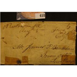 Aug. 4th, 1846 Letter from New Boston, Ill. demanding payment of a debt and asking for land to secur