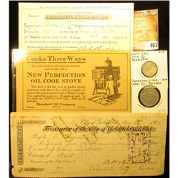"1898 AETNA Life Insurance Company Receipt; 1917 Standard Oil Company advertisement for ""New Perfecti"