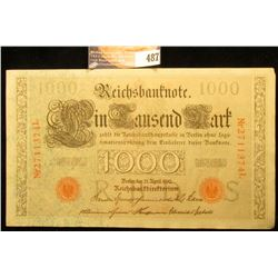 1910 Germany 1000 Mark Banknote, near Crisp Uncirculated.
