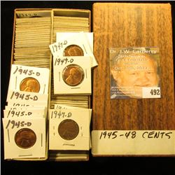 "3.25"" x 6.5"" 1 1/2"" x 1 1/2"" Double Row Stock Box full of Lincoln Cents dating 1945-48S."