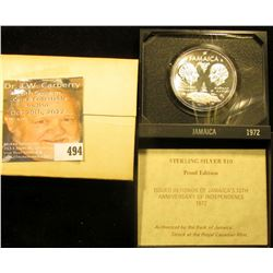 "1962-1972 ""Tenth Anniversary of Independence"" Jamaica Ten Dollar Sterling Silver Proof Coin in origi"
