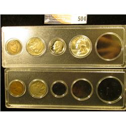 Pair of Snap-tie cases containing 1906 Indian Cent, 1928 S Lincoln Cent, 1928 S & 37 P Buffalo Nicke